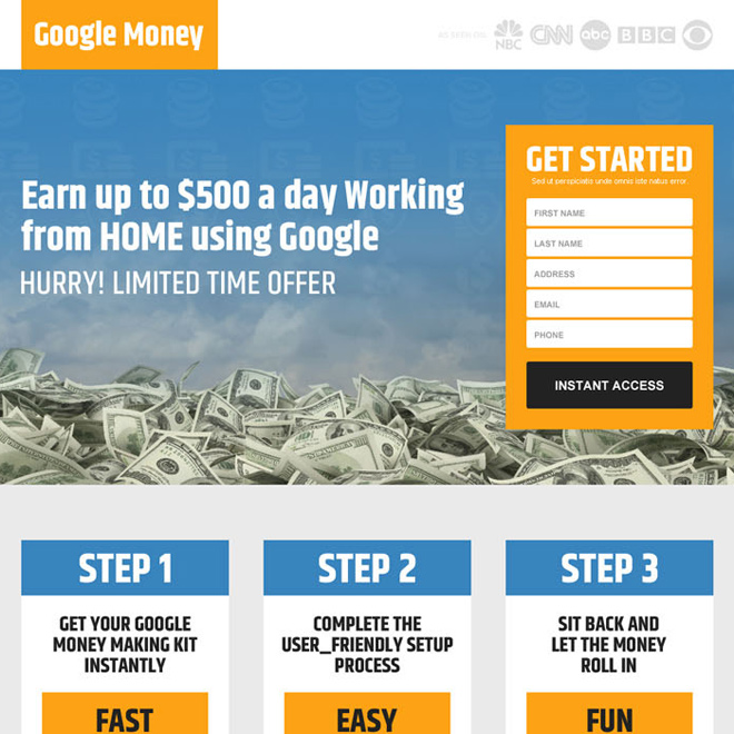 earn money online using google responsive lead capture landing page design Google Money example