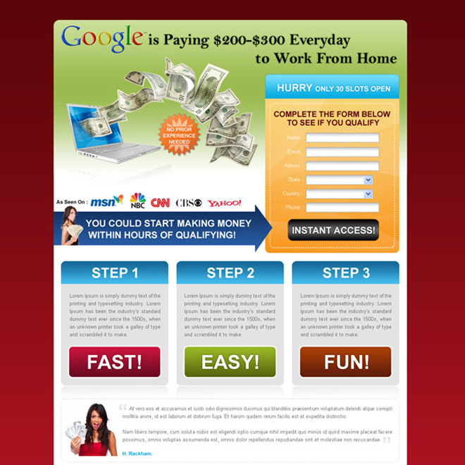 make money with google squeeze page design Landing Page Design example
