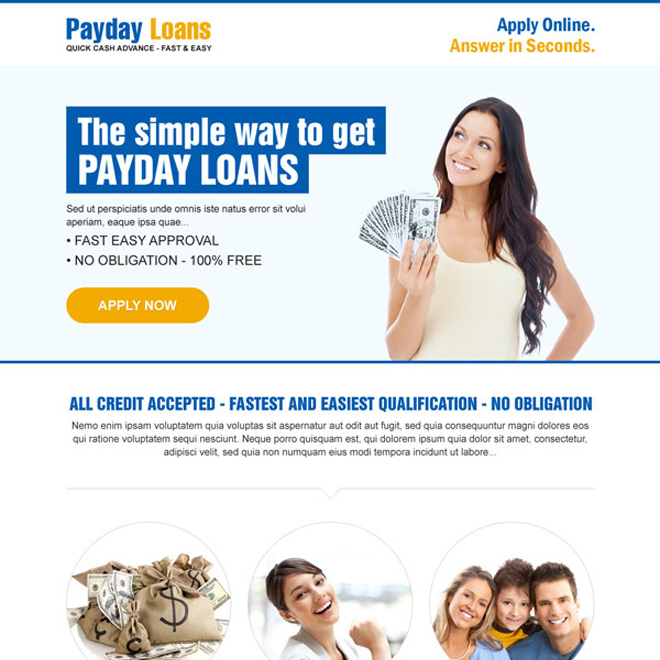 simple way to get payday loan call to action clean landing page Payday Loan example