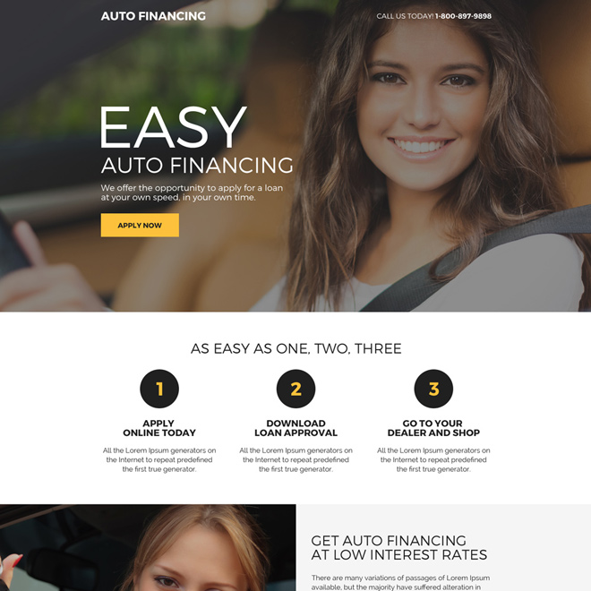 easy auto financing mini landing page design Auto Financing example