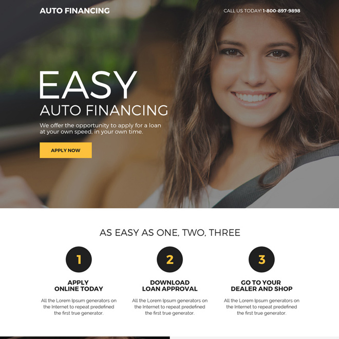 easy auto financing online application responsive landing page design Auto Financing example