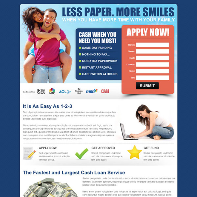 fastest and largest cash loan service landing page for capturing leads Loan example