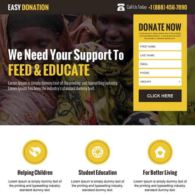 easy donation landing page design template Charity And Donation example