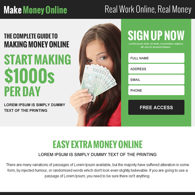 easy extra money online lead gen ppv landing page Make Money Online example