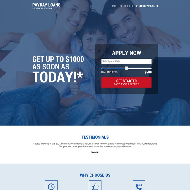 professional payday loan landing page design with slider Payday Loan example