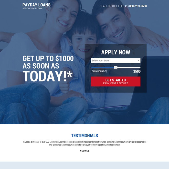 payday loan secure online application responsive landing page Payday Loan example