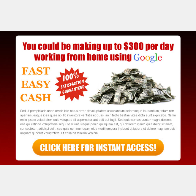easy fast cash google money ppv landing page design Google Money example