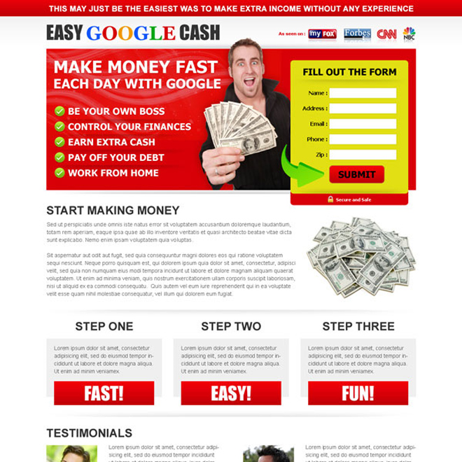 make money fast each day with google attractive and effective squeeze page design Google Money example