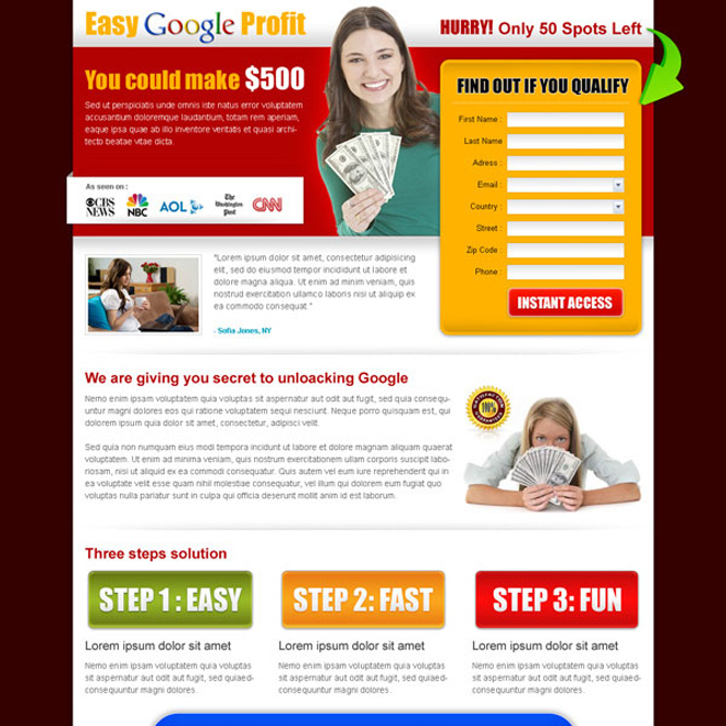 easy google profit landing page design template Google Money example
