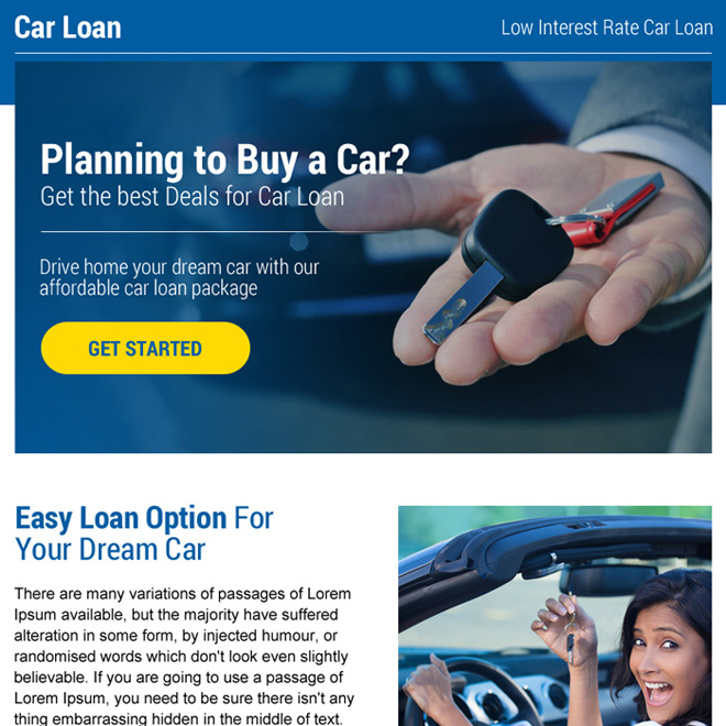 professional car loan strong call to action ppv landing page Auto Finance example