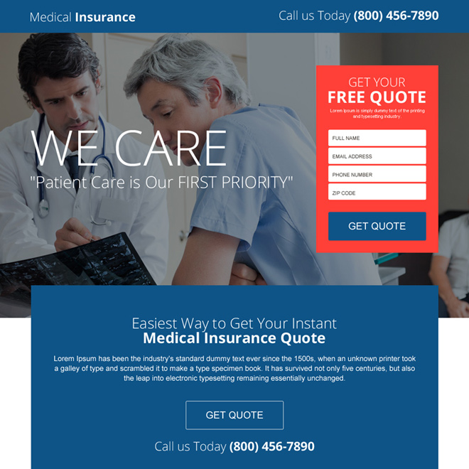 easy medical insurance quote lead gen landing page design Health Insurance example