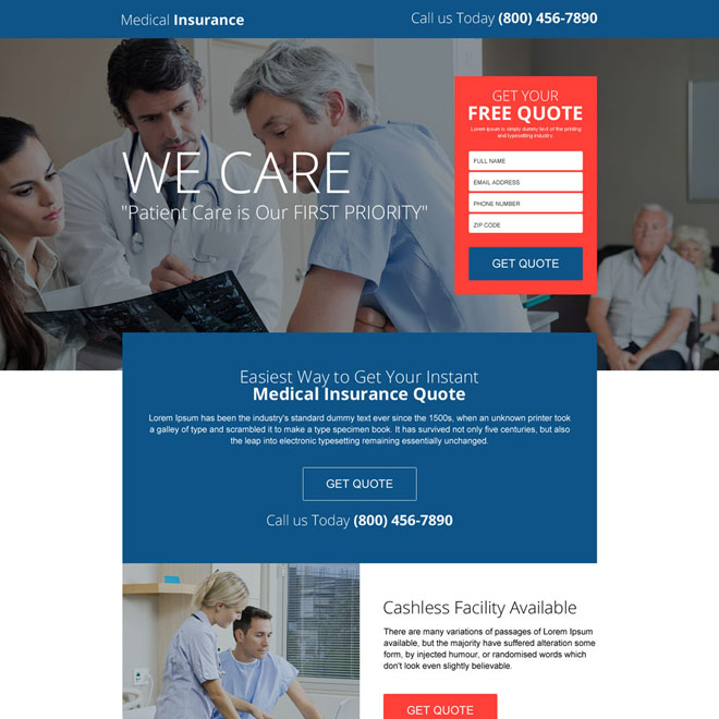 easy medical insurance quote responsive landing page Health Insurance example