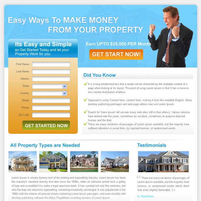 easy ways to make money from your property landing page for sale Mortgage example