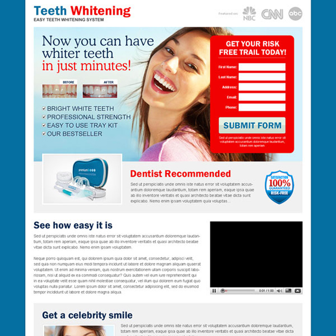 teeth whitening in minutes kit red lead capture very effective landing page design Teeth Whitening example