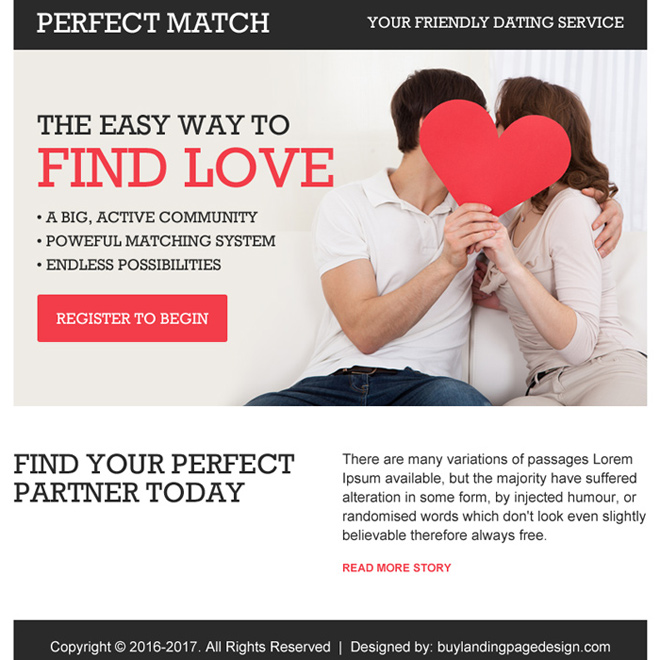 friendly dating service appealing ppv landing page design Dating example
