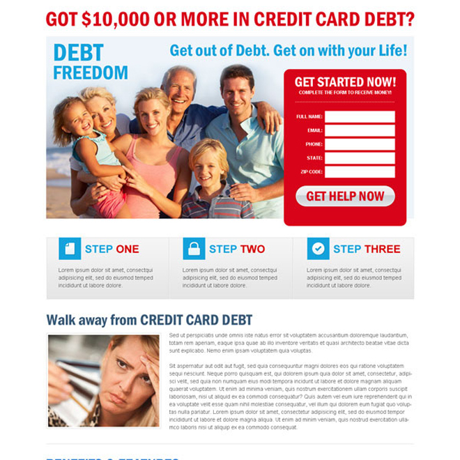 credit card debt attractive and appealing lead gen landing page design Debt example