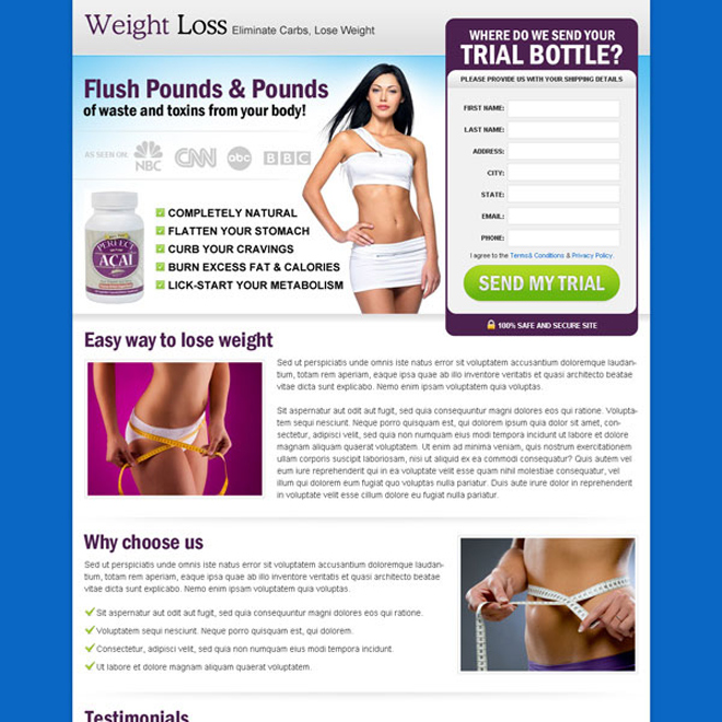 flush pounds of waste and toxins from your body product trial effective lead capture landing page design Weight Loss example