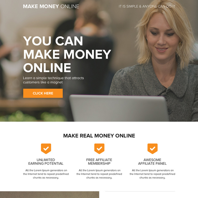 minimal and clean make money online mini landing page design Make Money Online example