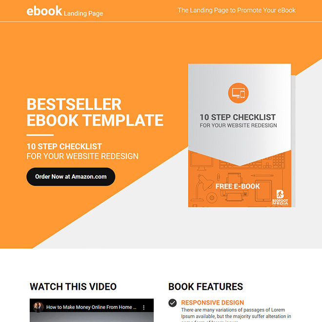 eBook selling lead capture responsive landing page design Ebook example