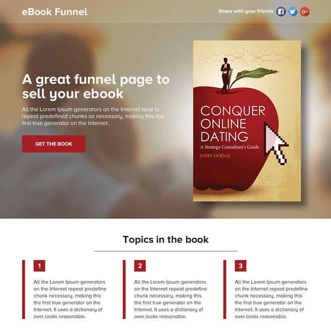 ebook selling lead funnel responsive landing page Ebook example
