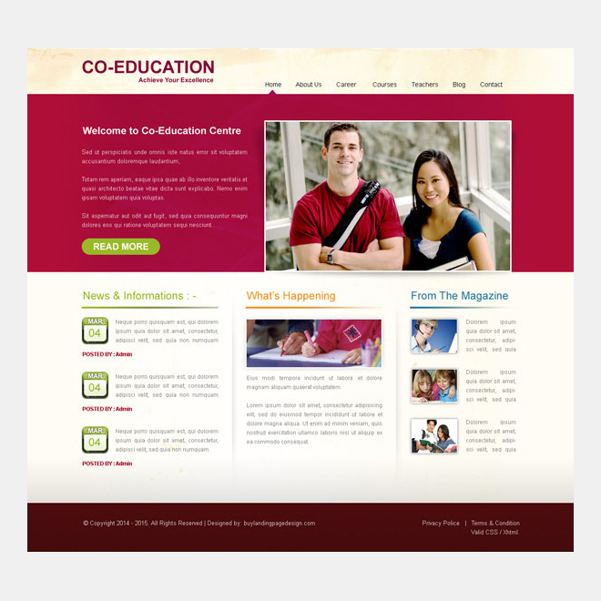 education center clean and appealing website template design psd Website Template PSD example