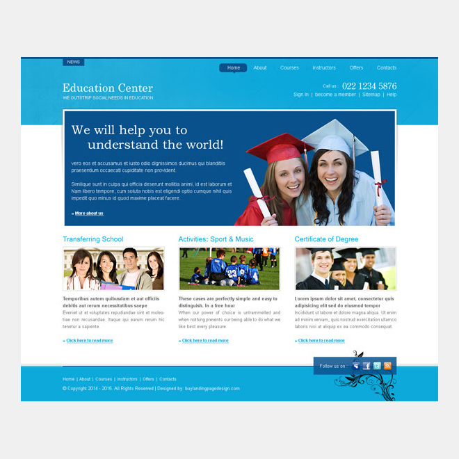 education center professional and informative website template design psd Website Template PSD example