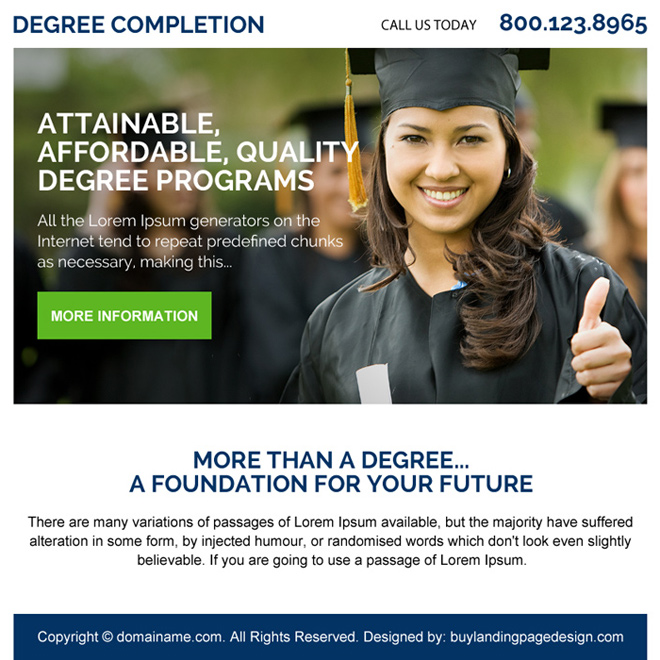 education degree programs ppv landing page design Education example
