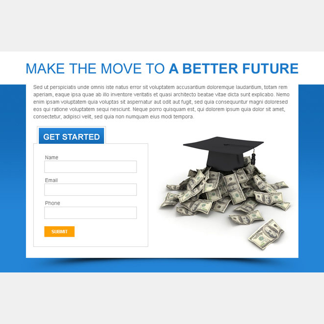 get educated for a better future lead capturing ppv landing page design PPV Landing Page example