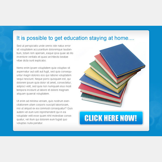education from home clean and converting ppv landing page design PPV Landing Page example