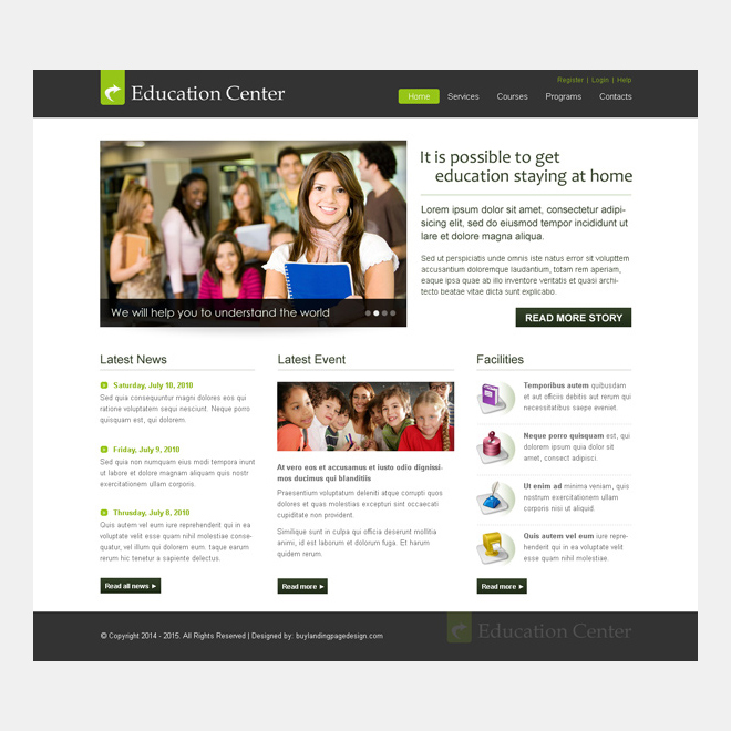 clean and informative education center website template design psd to create your website Website Template PSD example