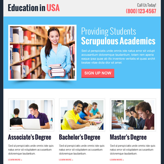 education in usa call to action clean and professional landing page design template Education example