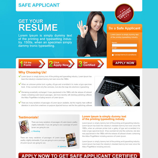 small lead capture education squeeze page Landing Page Design example