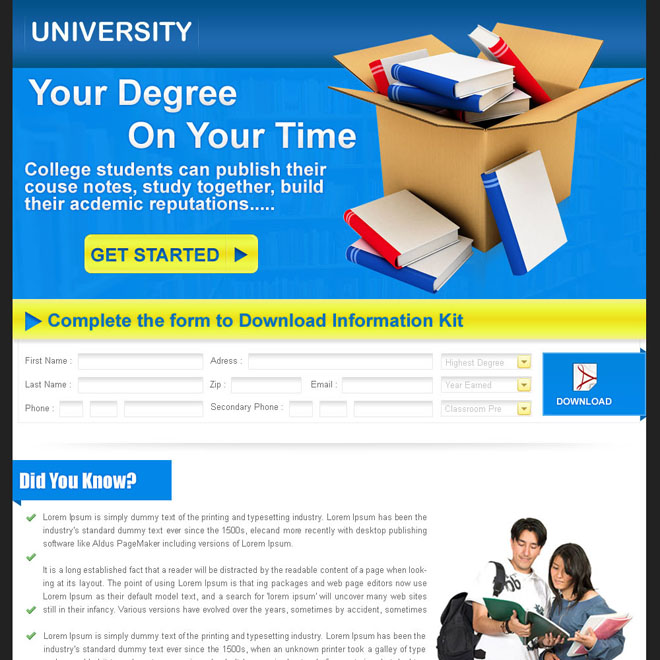education lead capture landing page design for sale Education example