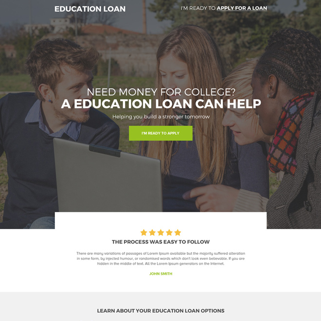 professional education loan landing page for college students Loan example