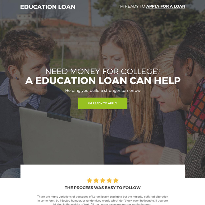education loan for college student responsive landing page Loan example