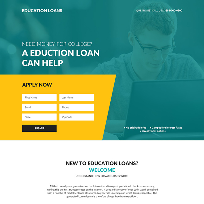 education loan responsive lead capture landing page design Loan example