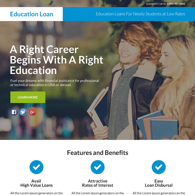 education loan responsive lead funnel landing page Loan example