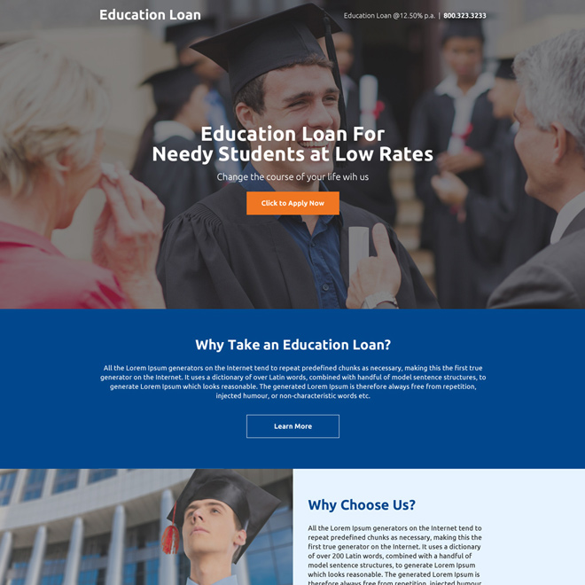 clean education loan mini landing page design Loan example