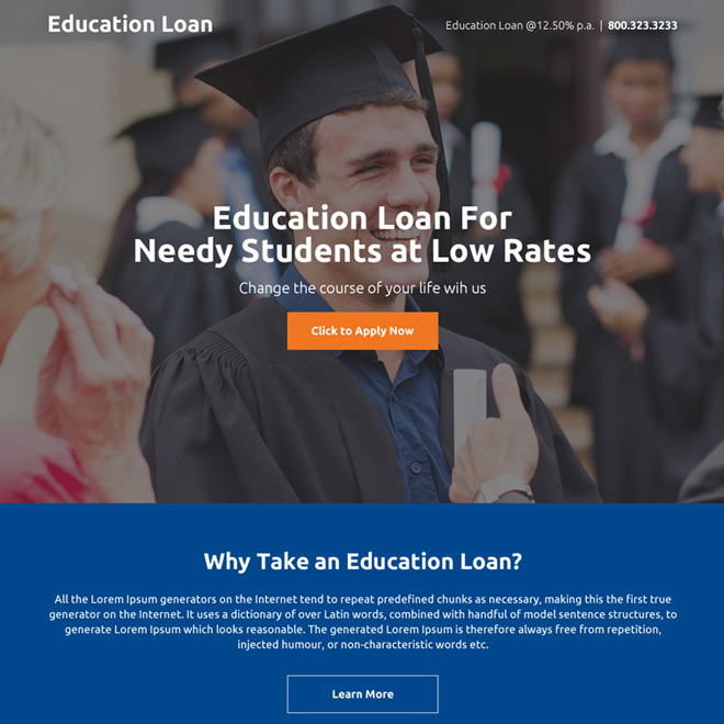 education loan responsive mini landing page Loan example