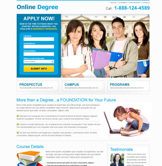 online degree apply now clean and simple join now landing page Education example