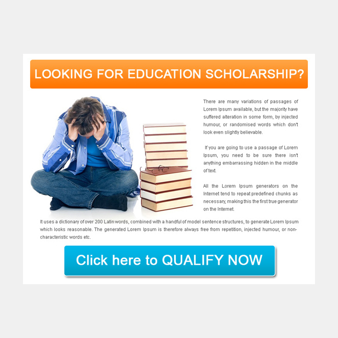 education scholarship lead generation simple ppv landing page design PPV Landing Page example