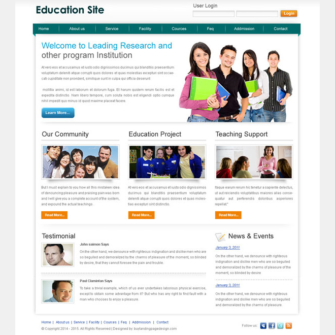 education website template design psd to create your education website Website Template PSD example