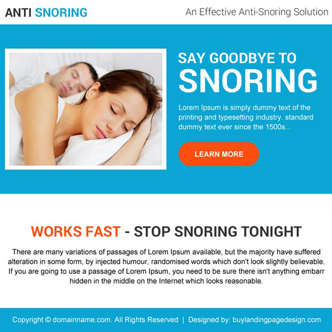 effective anti snoring solutions ppv landing page design Anti Snoring example