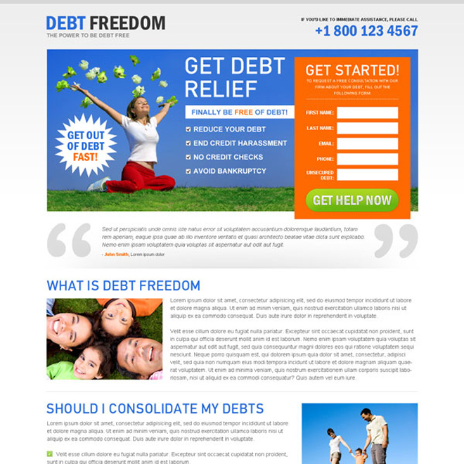 get out of debt lead capture landing page design to boost your business conversion Debt example