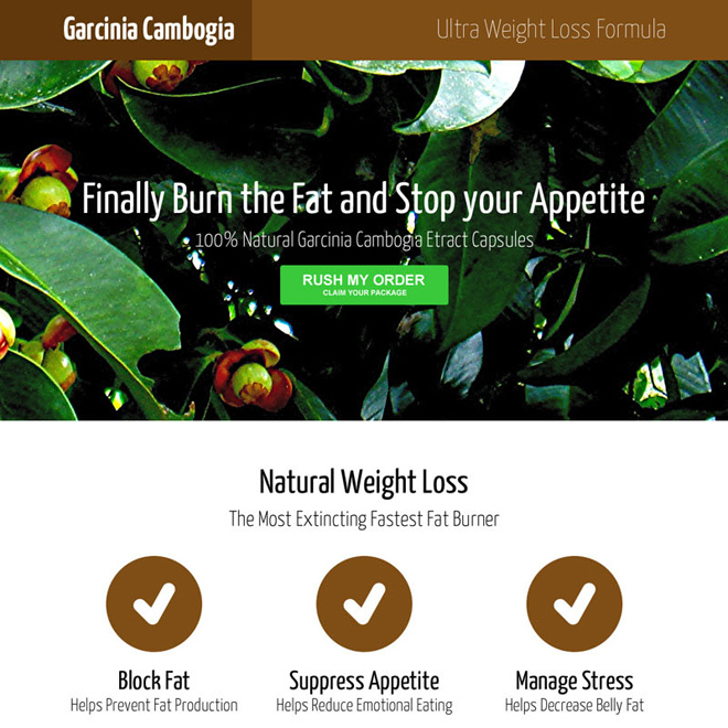 garcinia cambogia lead capture and product selling responsive landing page design Garcinia Cambogia example