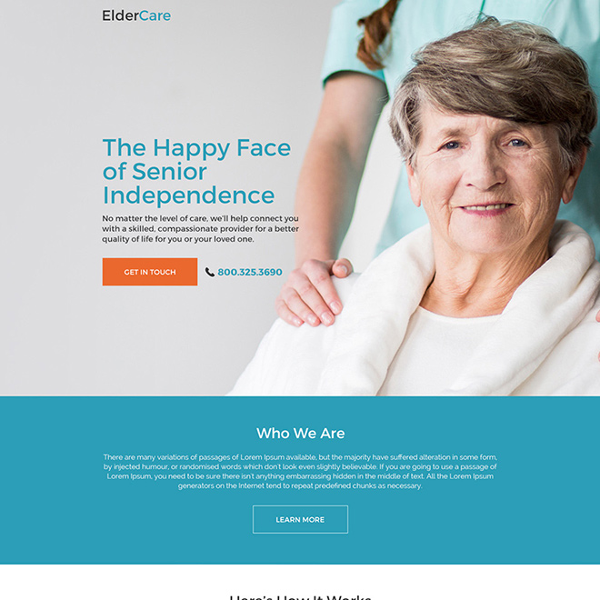 elderly care services for senior responsive landing page Elderly Care example