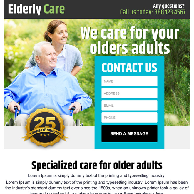 elderly care lead generating ppv landing page design Elderly Care example
