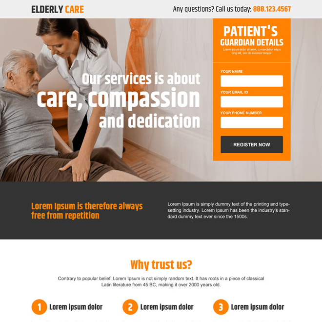 elderly care services lead generating landing page design Elderly Care example