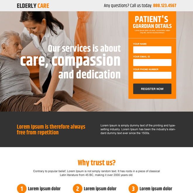 elderly care service responsive landing page design Elderly Care example