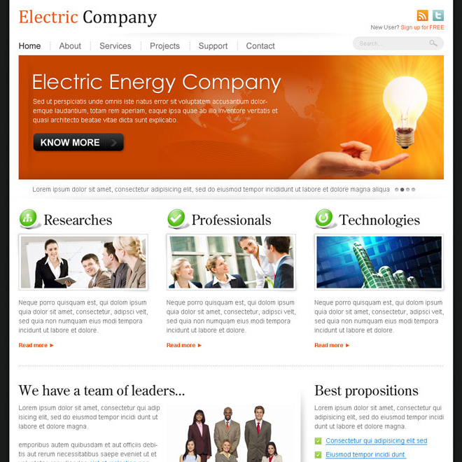 electric energy company website template design psd Website Template PSD example